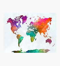 World map in watercolor 25 Photographic Print