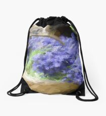 Basket of lavender Drawstring Bag