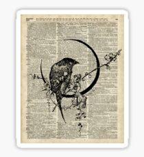 Goth Raven Pen&Ink Illustration,Vintage Dictionary Art Sticker