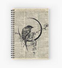Goth Raven Pen & Ink Illustration, Vintage Wörterbuch Kunst Spiralblock