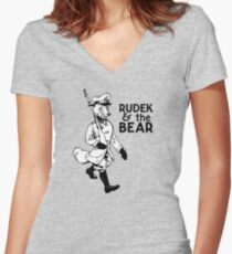 Rudek and the Bear Women's Fitted V-Neck T-Shirt