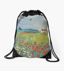 The House by Summer Meadow Drawstring Bag