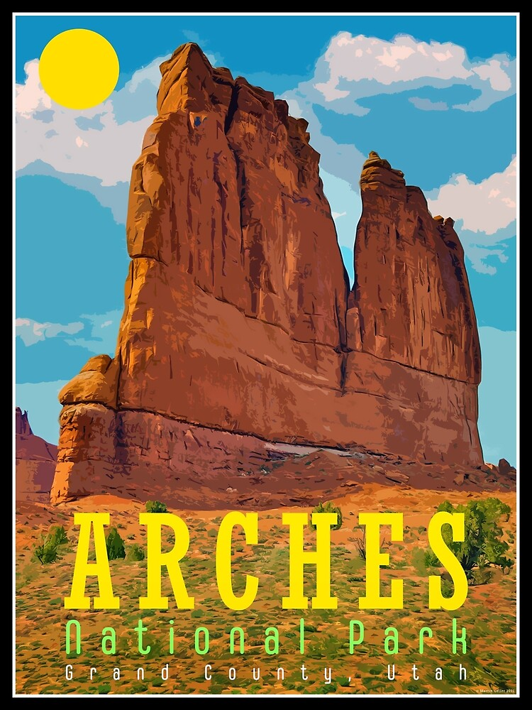 Arches National Park Retro Tourism Poster by BLTV