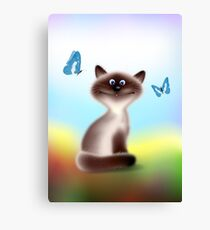 Sly Himalayan Cat & Butterflies Canvas Print