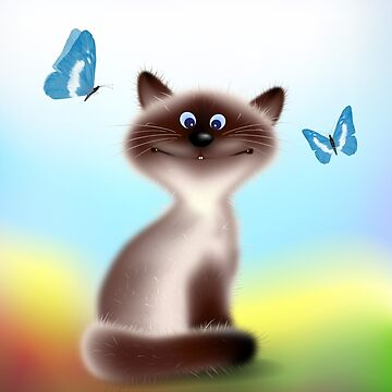 Sly Himalayan Cat & Butterflies by lydiasart