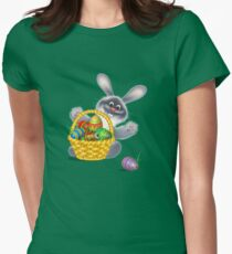 Easter Bunny with Egg Basket Womens Fitted T-Shirt