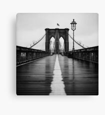 Brooklyn Bridge In Rain Canvas Print