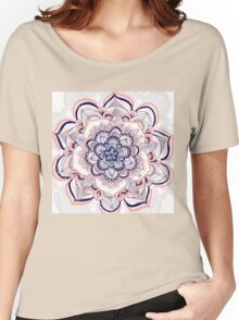Woven Dream - Pink, Navy & White Mandala Women's Relaxed Fit T-Shirt