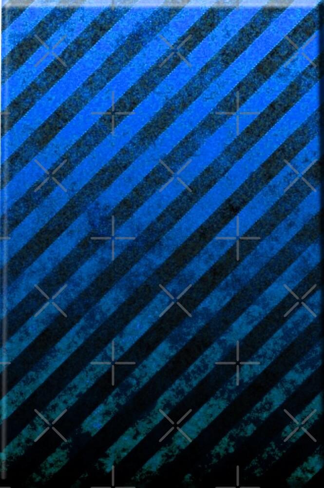 Royal Blue And Black Grunge Striped Design by CiaoBellaLtd