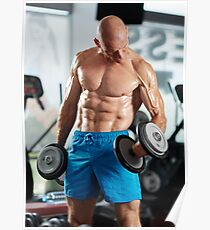 Man doing biceps curl in gym Poster
