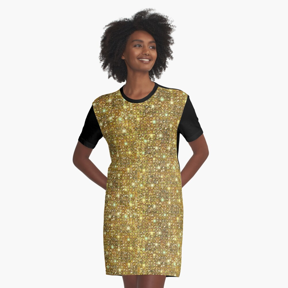 Gold Sequins And Sparkles Graphic T-Shirt Dress Front
