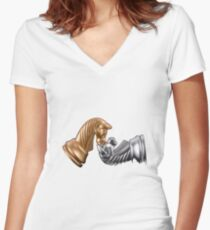 Chess Game Play Women's Fitted V-Neck T-Shirt