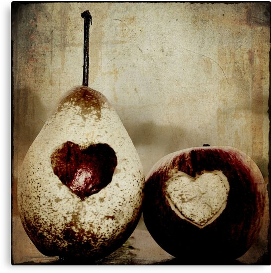 apple and pear hearts by Ingrid Beddoes