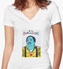 R.L. Burnside Blues Folk Art Women's Fitted V-Neck T-Shirt
