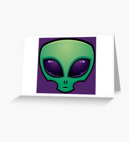 Alien Head Icon Greeting Card