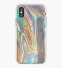 Holographic waves in silver iPhone Case