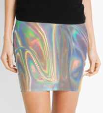 Holographic waves in silver Mini Skirt