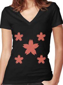 Sakura Cherry Blossom Floral Pattern  Women's Fitted V-Neck T-Shirt