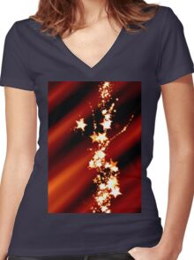 Star Trails Women's Fitted V-Neck T-Shirt