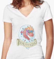 Flower Crown Tyrantrum - Beauty King Women's Fitted V-Neck T-Shirt