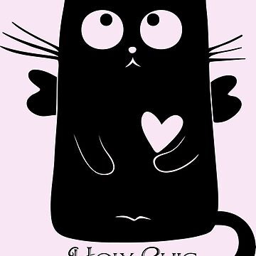 Cute Black Cartoon Cat Angel with Heart Holy Chic by Sago-Design