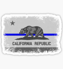 Blue Line California State Flag Sticker