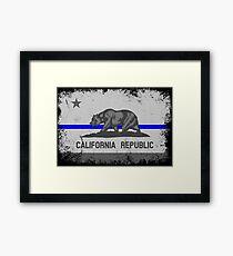 Blue Line California State Flag Framed Print