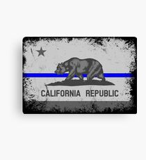 Blue Line California State Flag Canvas Print