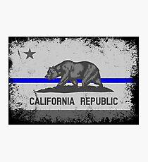 Blue Line California State Flag Photographic Print