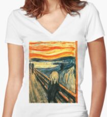 The Scream by Edvard Munch Women's Fitted V-Neck T-Shirt