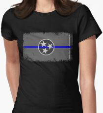 Blue Line Tennessee State Flag Women's Fitted T-Shirt