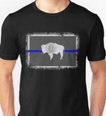 Blue Line Wyoming State Flag Unisex T-Shirt