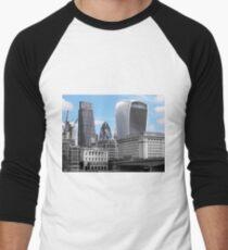 Cityscape - London; Blue  Men's Baseball ¾ T-Shirt