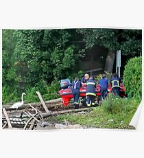 Firemen in Rescue Training at the River Chester Poster
