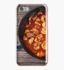 Chicken meat and chorizo cooking in the frying pan iPhone Case/Skin