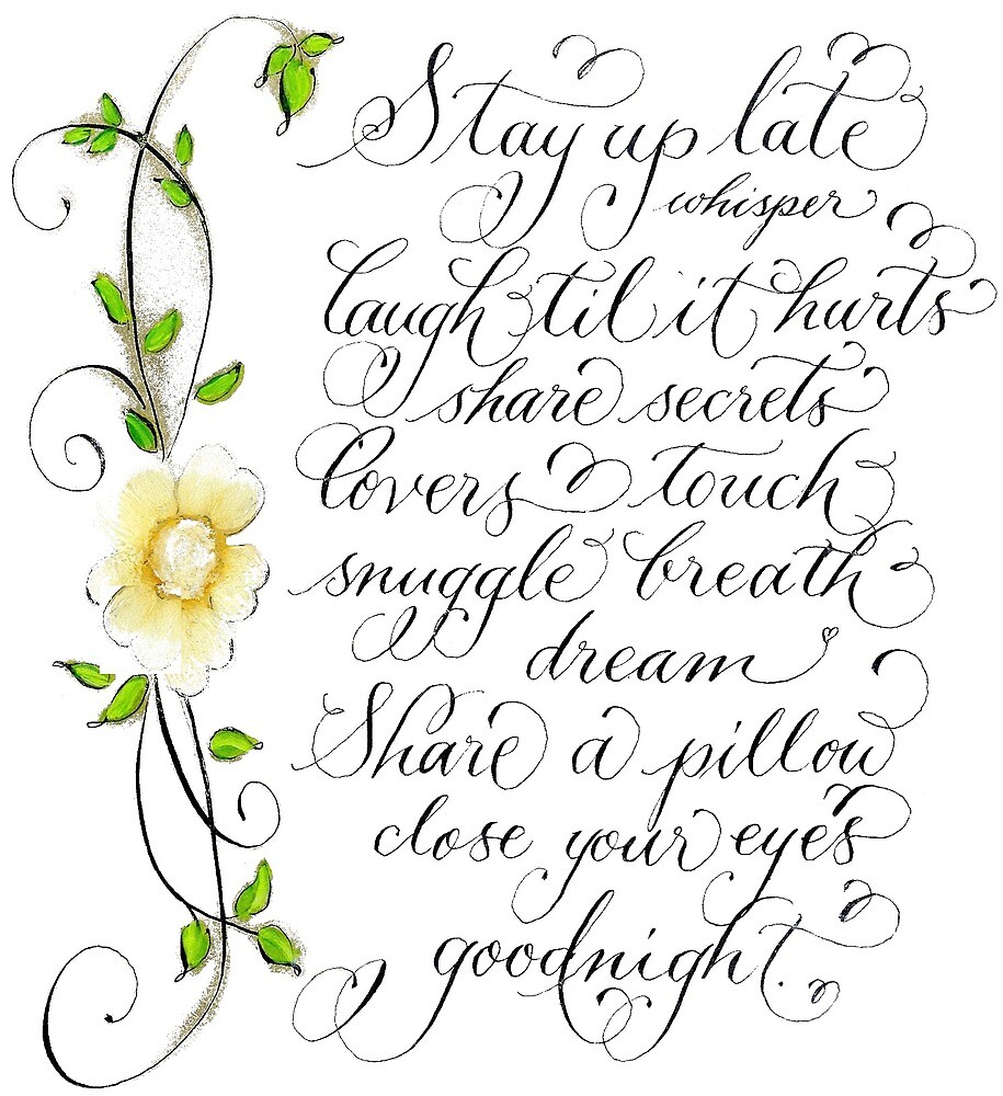 Stay up late romantic handwritten quote by Melissa Goza