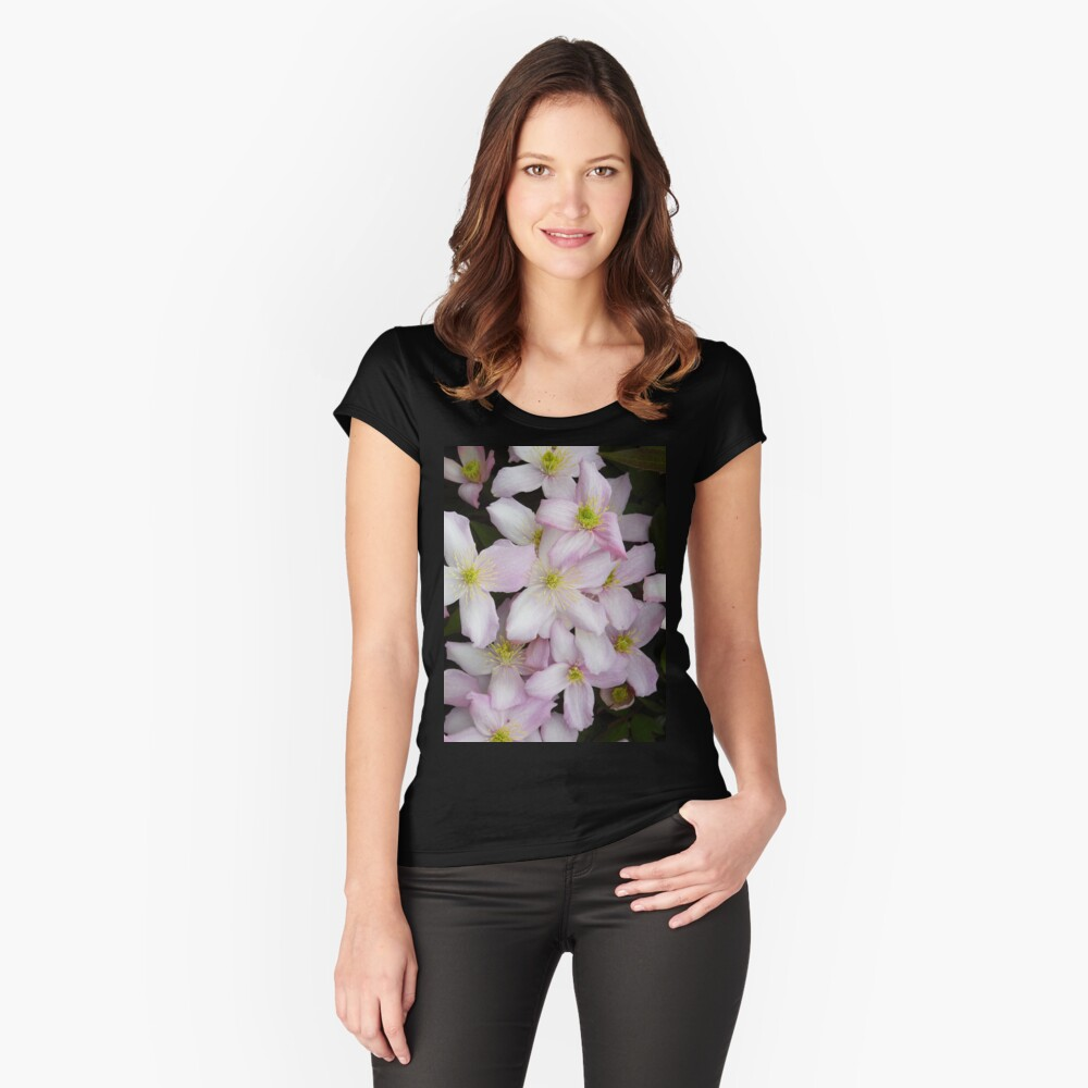 Clematis Montana Summer Flowers Women's Fitted Scoop T-Shirt Front