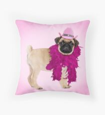 Pug dog wearing a feather boa and cowboy hat Throw Pillow