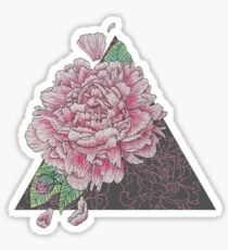 Pink Peony Floral Study, Illustrative Design Sticker