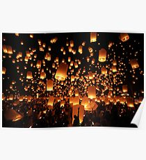 Sky Lanterns at Yee Peng Festival in Chiang Mai, Thailand Poster