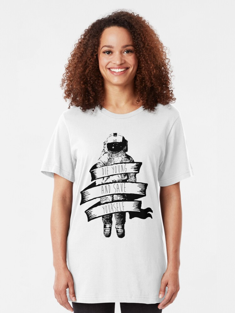 Alternate view of ribbon wrapped astronaut quote Slim Fit T-Shirt