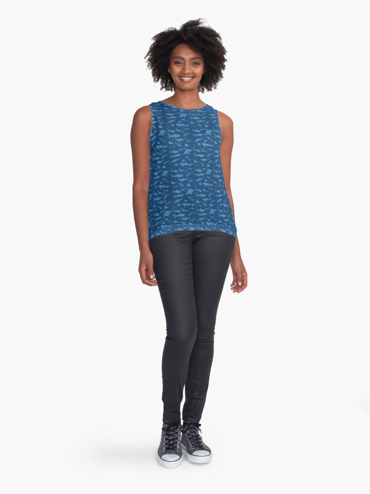 Alternate view of Sharks and Rays - Blue version! Sleeveless Top