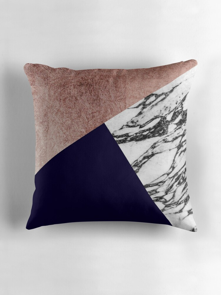 Quot Modern Marble Rose Gold And Navy Blue Tricut Geo Quot Throw