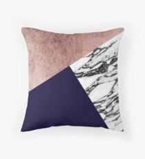 Modern Marble Rose Gold and Navy Blue Tricut Geo Throw Pillow