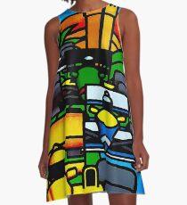 """MONACO"" Vintage Grand Prix Auto Print A-Line Dress"