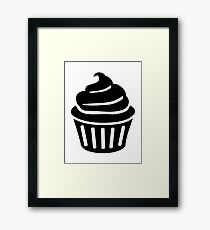 Black cupcake logo Framed Print