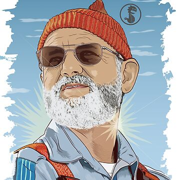 Bill Murray as Steve Zissou Illustrated Portrait by kevinspelican