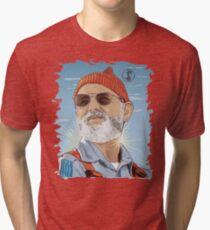 Bill Murray as Steve Zissou Illustrated Portrait Tri-blend T-Shirt