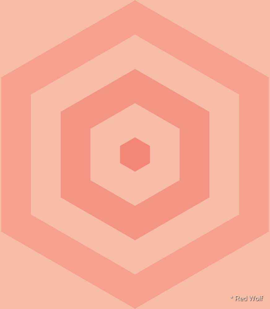 Geometric Pattern: Hexagon Hive: Salmon by * Red Wolf