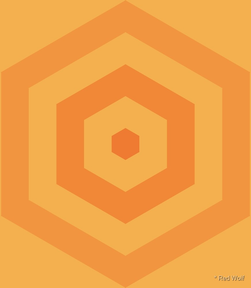 Geometric Pattern: Hexagon Hive: Citrus by * Red Wolf